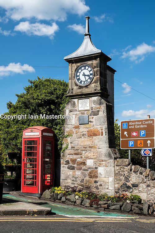 Clocktower in centre of Aberdour village in Fife, Scotland, UK