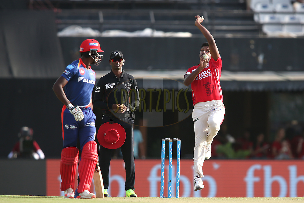Varun Aaron of Kings XI Punjab sends down a delivery during match 36 of the Vivo 2017 Indian Premier League between the Kings XI Punjab and the Delhi Daredevils held at the Punjab Cricket Association IS Bindra Stadium in Mohali, India on the 30th April 2017<br /> <br /> Photo by Shaun Roy - Sportzpics - IPL