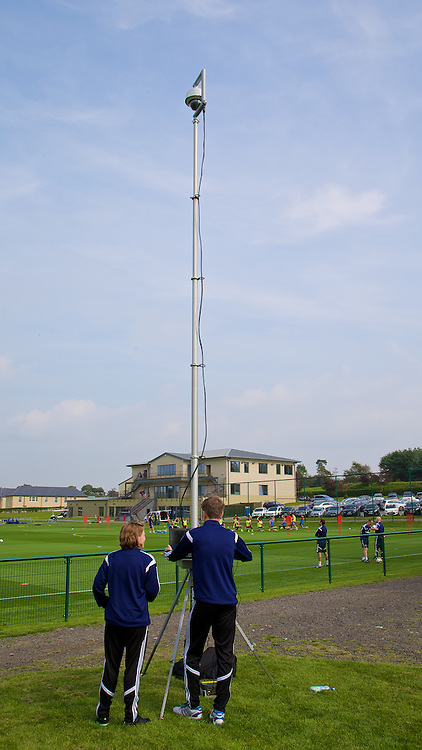 CARDIFF, WALES - Friday, September 5, 2014: Wales' Video Technician Niklas Wasserman records training on a remote telescopic camera at the Vale of Glamorgan ahead of the opening UEFA Euro 2016 qualifying match against Andorra. (Pic by David Rawcliffe/Propaganda)