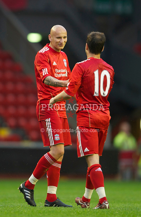 LIVERPOOL, ENGLAND - Thursday, May 5, 2011: Liverpool's Jonjo Shelvey celebrates scoring the first goal against Manchester United with team-mate Joe Cole during the FA Premiership Reserves League (Northern Division) match at Anfield. (Photo by David Rawcliffe/Propaganda)