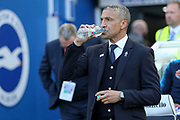 Brighton and Hove Albion manager Chris Hughton during the Premier League match between Brighton and Hove Albion and Southampton at the American Express Community Stadium, Brighton and Hove, England on 30 March 2019.