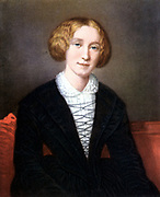 George Eliot (1819-1880) pen name of Mary Ann Evans. Important British novelist.  Author of 'Adam Bede', 'Silas Marner', 'The Mill on the Floss', 'Romola',' Felix Holt', Middlemarch', 'Daniel Deronda', etc. Eliot as a young woman, after the portrait by F d'A Durade.