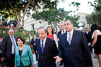 VALLETTA, MALTA - JUNE 19: Malta Prime Minister Lawrence Gonzi (center), Malta Home Affairs Minister Carm Misfud Bonnici (right), EU Commissioner for Home Affairs Cecilia Malmstrom (rear left) and EASO Executive Director Robert Visser (rear right) enter the Upper Barrakka Gardens for the EASO (European Asylum Support Office) inauguration in Valletta, Malta, on June 19, 2011. EASO, the European Asylum Support Office, was inaugurated by Prime Minister Lawrence Gonzi and European Home Affairs Commissioner Cecilia Malmström at the Upper Barrakka Gardens,Valletta.<br /> The EASO is a regulatory agency set up to improve the implementation of the Common European Asylum System, develop practical cooperation among member states on asylum, and support member states experiencing particular pressure on their asylum systems. Malta lobbied hard to make it the first EU agency based on its shores.