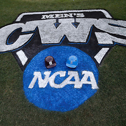 Jun 24, 2013; Omaha, NE, USA; Detail view of the logo with batting helmets for the Mississippi State Bulldogs and the UCLA Bruins before game 1 of the College World Series finals at TD Ameritrade Park. Mandatory Credit: Derick E. Hingle-USA TODAY Sports