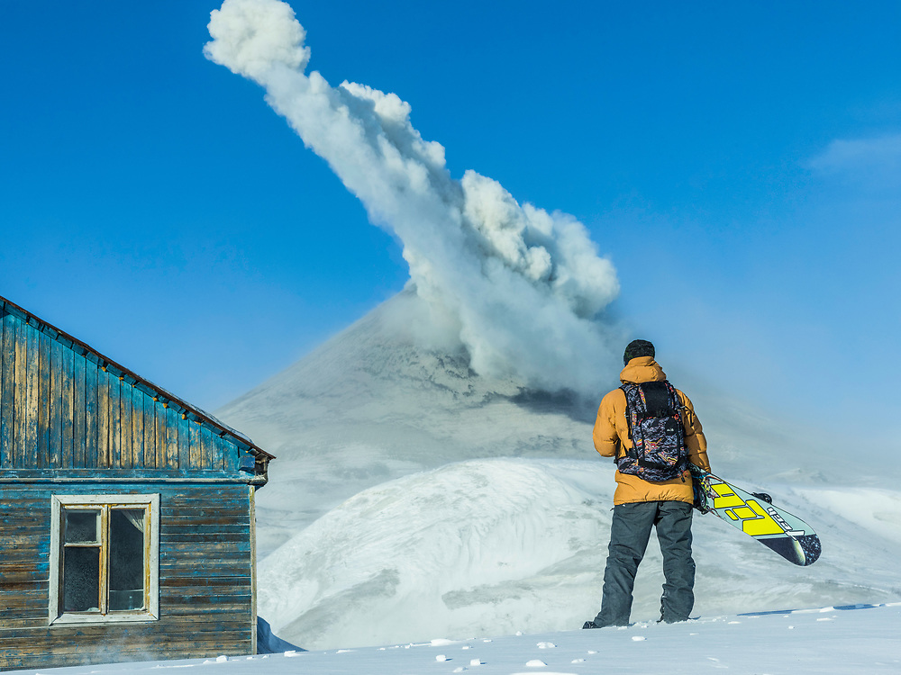 Watching, Waiting, Exploding. <br /> <br /> In 2014 I travelled with Travis Rice to a remote region within the Kamchatka Peninsula, home of about 160 volcanoes, 29 of them still active. Our goal was simple, to snowboard on a volcano. We spent a day and night at the base of this particular volcano, sleeping in tents outside of an abandoned cabin, soaking in all its beauty. Unfortunately it was deemed too dangerous to ride.