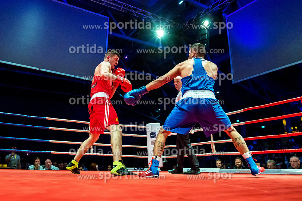 07.04.2018, Erste Bank Arena, Wien, AUT, Bounce Fight Night, Olympisches Boxen Elite, 81 kg, Umar Dzambekov (AUT) vs Blagoy Naydenov (BUL), im Bild v.l. Umar Dzambekov (AUT), Blagoy Naydenov (BUL) // during the Olympic Boxing Round, 91kg with the fight between Umar Dzambekov of Austria and Blagoy Naydenov of Bulgaria of the Bounce Fight Night at the Erste Bank Arena, Vienna, Austria on 2018/04/07. EXPA/ Sebastian Pucher