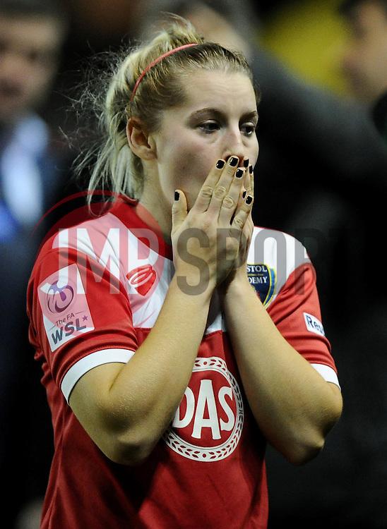 Bristol Academy Womens' Nikki Watts reflects on the final whistle  - Photo mandatory by-line: Joe Meredith/JMP - Mobile: 07966 386802 - 13/11/2014 - SPORT - Football - Bristol - Ashton Gate - Bristol Academy Womens FC v FC Barcelona - Women's Champions League