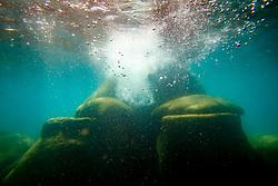 """Boulders Under Lake Tahoe 6"" - Underwater photograph taken while swimming at Secret Cove, Lake Tahoe."