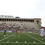 Matt Abbott #3 of the Chesapeake Bayhawks lines up across from members of the Boston Cannons during the game at Harvard Stadium on April 27, 2014 in Boston, Massachusetts. (Photo by Elan Kawesch)