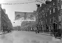 Gardiner Street in Dublin prepares for the Eucharistic Congress in 1932. <br />