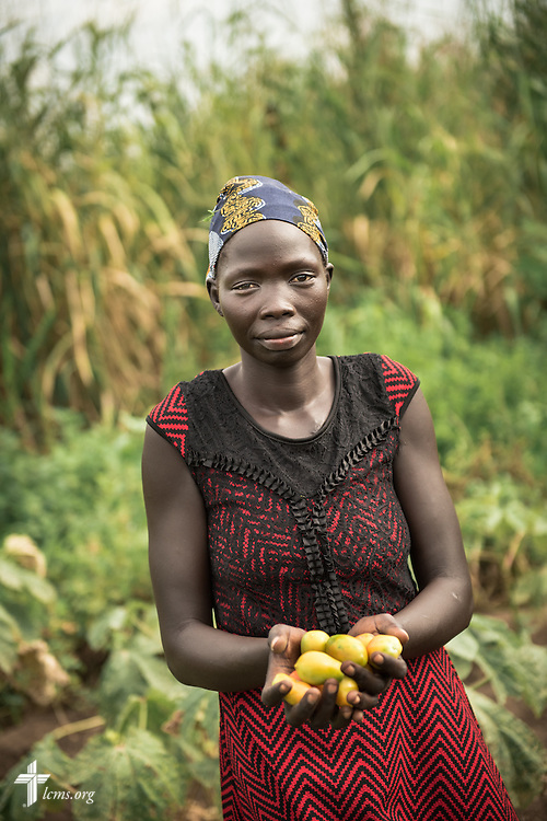 A woman gathers produce in a vegetable garden on Wednesday, Sept. 23, 2015, at the Leitchour Refugee Camp outside Gambela, Ethiopia. LCMS Communications/Erik M. Lunsford