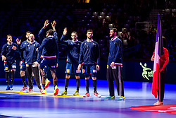 France players during handball match between National teams of France and Spain in Half Final match of Men's EHF EURO 2018, on January 26, 2018 in Arena Zagreb, Zagreb, Croatia. Photo by Ziga Zupan / Sportida