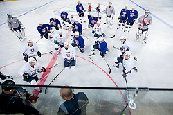 Coach Matjaz Kopitar with players during first practice session of Slovenian National Ice Hockey team in Arena Stozice before 2012 IIHF World Championship DIV I Group A in Slovenia, on April 13, 2012, in Arena Stozice, Ljubljana, Slovenia. (Photo by Vid Ponikvar / Sportida.com)