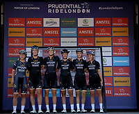 Kirsten WILD (NED) Wiggle High5 and her team mates on the podium at the end of The Prudential RideLondon Classique. Saturday 28th July 2018<br /> <br /> Photo: Paul Gregory for Prudential RideLondon<br /> <br /> Prudential RideLondon is the world's greatest festival of cycling, involving 100,000+ cyclists - from Olympic champions to a free family fun ride - riding in events over closed roads in London and Surrey over the weekend of 28th and 29th July 2018<br /> <br /> See www.PrudentialRideLondon.co.uk for more.<br /> <br /> For further information: media@londonmarathonevents.co.uk