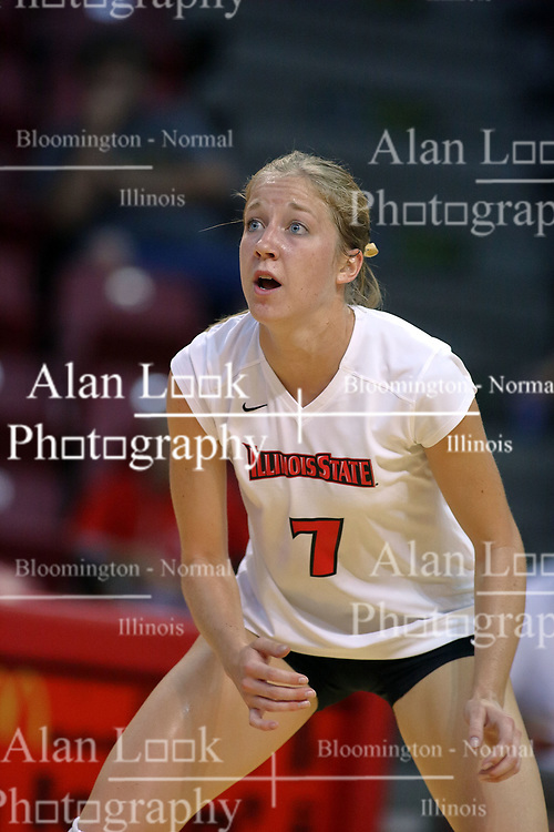 28 September 2008: M.C. Richmond reacts to the ball in anticipation of it coming her way. The Braves took the first set, but the Illinois State Redbirds grabbed 3 sets in a row to win the match 3 sets to 1. The Bradley Braves visited the Illinois State Redbirds at Redbird Arena on the campus of Illinois State University in Normal Illinois.
