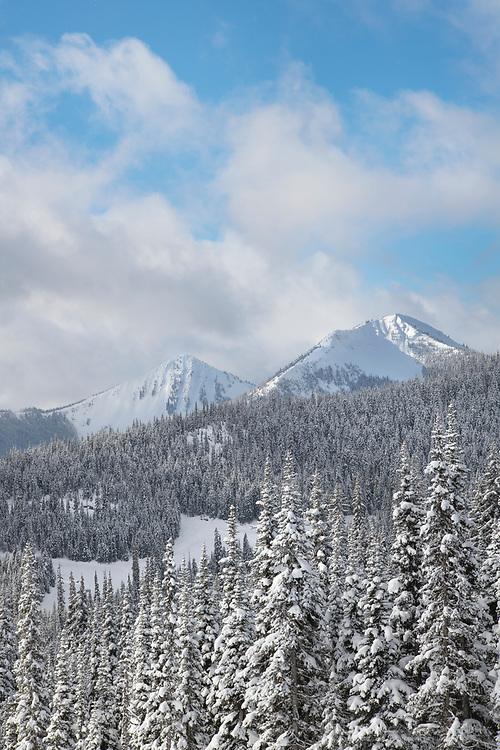 North Cascades in fresh winter snow. Manning Provincial Park British Columbia
