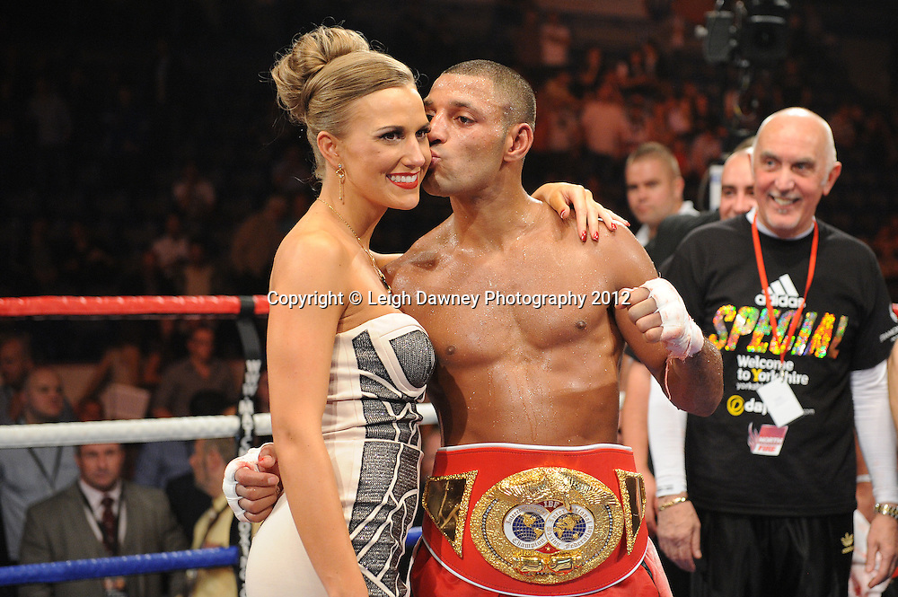Kell Brook (pictured with girlfriend Lindsey) defeats Carson Jones for the IBF Welterweight Title at the Motorpoint Arena, Sheffield, United Kingdom on the 7th July 2012. Promoted by Matchroom Sport. ©Leigh Dawney Photography 2012.