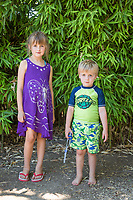 Mya and her brother Lucas prepare for an afternoon at the Community Pool in Calistoga.