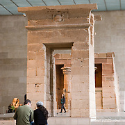 The Temple of Dendur is in the Egyptian wing at the Metropolitan Museum of Art in NYC. It was given to the United States by the Egyptian government in 1965 and is the only Egyptian temple in the western hemisphere. The temple was reassembled in the Metropolitan as it appeared on the banks of the Nile.