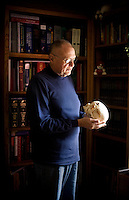 Jay Chapman, a retired medical pathologist and instructor, holds a skull used in his medical classes, his Santa Rosa home, in California., on Friday, Oct. 29, 2010. Mr. Chapman, who supported the death penalty and was then the chief medical examiner in Oklahoma,  recalls when the lethal injection was signed into law in the state of Oklahoma in 1977. The cocktail basically involves uses an overdose of an anesthetic..