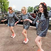NLD/Amsterdam/20140430 - Clipopname K3 'Drums gaan boem', Josje Huisman, Karen Damen en Kristel Verbeke