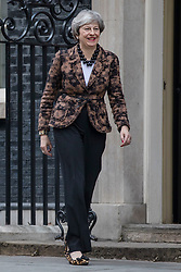 © Licensed to London News Pictures. 21/01/2019. London, UK. Prime Minister Theresa May leaves 10 Downing Street to greet Prime Minister of New Zealand Jacinda Ardern. Photo credit: Rob Pinney/LNP