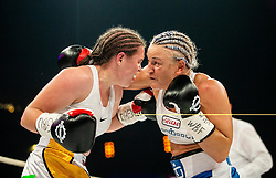 Ema Kozin of Slovenia (L) in action against Maria Lindberg of Sweden during their WBC, IBO, IBA, WBF and WIBA supermiddleweight World Championship titles fight, on October 6, 2019 in Arena Stozice, Ljubljana, Slovenia. Photo by Vid Ponikvar / Sportida