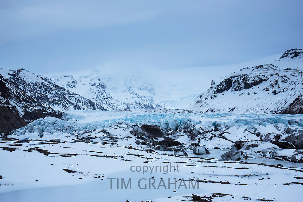 Close up showing glacial tongue of Svinafellsjokull glacier an outlet glacier of Vatnajokull, South Iceland