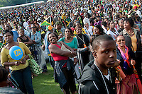 West Indian crowd at Jamaican family day at Crystal Palace Park South London