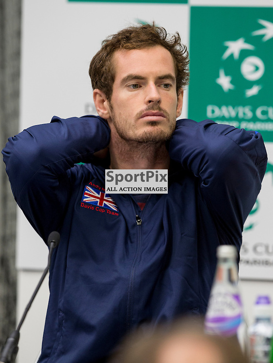 Davis Cup semi-final: Great Britain v Australia<br /> <br /> Andy Murray speaks at press call after beating  Bernard Tomic at Sunday's first Rubber.<br /> <br /> <br /> Picture: Alan Rennie