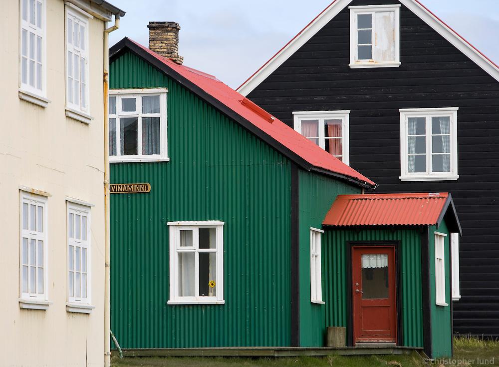 Frá Flatey á Breiðafirði, falleg gömul hús..From island Flatey on Breidajordur. Old houses.