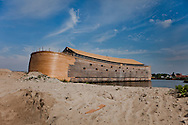 A full-sized replica of the biblical Noah's Ark has been built by a Dutch man, complete with model animals, and a four story theatre..Dutch creationist Johan Huibers built the ark as testament to his literal belief in the Bible. After three years of building the Ark should be finished in July. He expects to get around 400.000 visitors a year. Dordrecht, Mei 2011