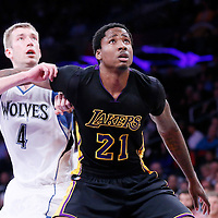 10 April 2014: Los Angeles Lakers forward Ed Davis (21) vies for the rebound with Minnesota Timberwolves forward Robbie Hummel (4) during the Los Angeles Lakers 106-98 victory over the Minnesota Timberwolves, at the Staples Center, Los Angeles, California, USA.
