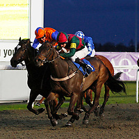 Mr Chocolate Drop and Adam Kirby winning the 8.05 race