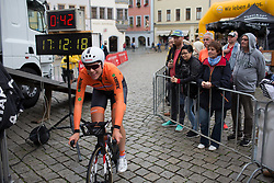Ellen van Dijk (NED) of Team Netherlands arrives at the start of the prologue of the Lotto Thuringen Ladies Tour - a 6.1 km individual time trial, starting and finishing in Gera on July 12, 2017, in Thuringen, Germany. (Photo by Balint Hamvas/Velofocus.com)