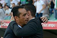 Huelva's coacher Jose Luis Oltra (L) and Betis coacher Julio Velazquez (D) just before starting the match between Real Betis and Recreativo de Huelva day 10 of the spanish Adelante League 2014-2015 014-2015 played at the Benito Villamarin stadium of Seville. (PHOTO: CARLOS BOUZA / BOUZA PRESS / ALTER PHOTOS)