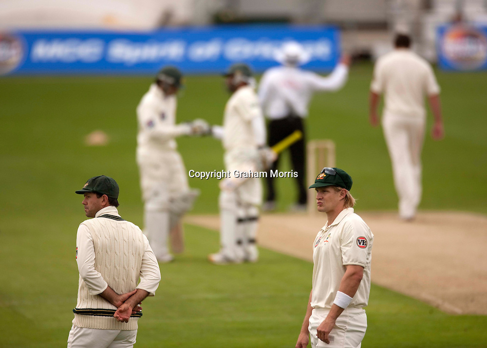 Captain Ricky Ponting (left) and Shane Watson watch a Ben Hilfenhaus delivery go for four during the second MCC Spirit of Cricket Test Match between Pakistan and Australia at Headingley, Leeds.  Photo: Graham Morris (Tel: +44(0)20 8969 4192 Email: sales@cricketpix.com) 21/07/10