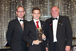 CARDIFF, WALES - Monday, October 8, 2012: Wales' Joe Allen receives the Senior Player of the Year Award from FAW President Trevor Lloyd Hughes and Vauxhall's Simon Culley during the FAW Player of the Year Awards Dinner at the National Museum Cardiff. (Pic by David Rawcliffe/Propaganda)