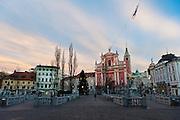 Preseren Square, old town Ljubljana