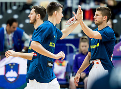 Vlatko Cancar of Slovenia and Aleksej Nikolic of Slovenia during basketball match between National Teams of Slovenia and France at Day 7 of the FIBA EuroBasket 2017 at Hartwall Arena in Helsinki, Finland on September 6, 2017. Photo by Vid Ponikvar / Sportida