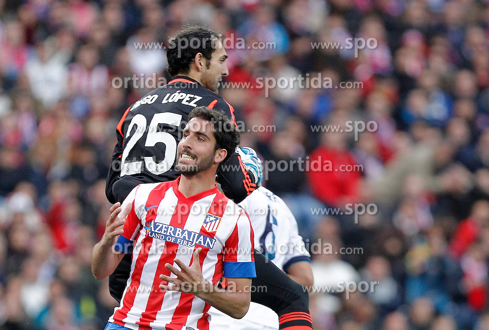 27.04.2013, Estadio Vicente Calderon, Madrid, ESP, Primera Division, Atletico Madrid vs Real Madrid, 33. Runde, im Bild Atletico de Madrid's Raul Garcia against Real Madrid's Diego Lopez // during the Spanish Primera Division 33th round match between Club Atletico de Madrid and Real Madrid CF at the Estadio Vicente Calderon, Madrid, Spain on 2013/04/27. EXPA Pictures © 2013, PhotoCredit: EXPA/ Alterphotos/ Alvaro Hernandez..***** ATTENTION - OUT OF ESP and SUI *****