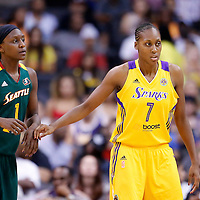 15 August 2014: Los Angeles Sparks forward/center Sandrine Gruda (7) defends on Seattle Storm forward/center Crystal Langhorne (1) during the Los Angeles Sparks 77-65 victory over the Seattle Storm, at the Staples Center, Los Angeles, California, USA.