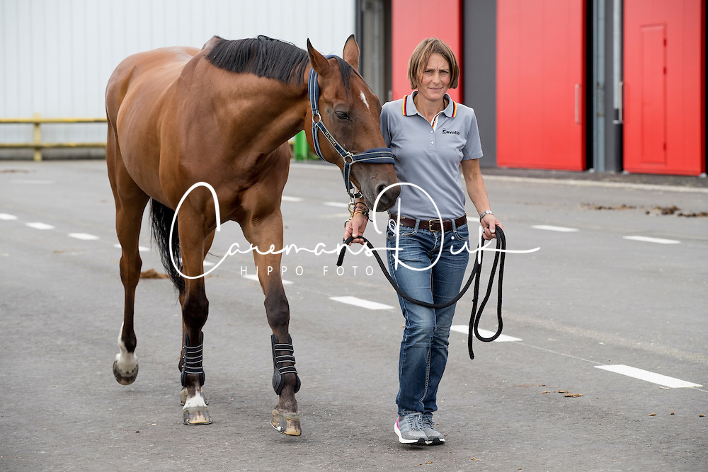 Carmen Thiemann, Sam FWB<br /> Departure of the horses to the Rio Olympics from Liege Airport - Liege 2016<br /> © Hippo Foto - Dirk Caremans<br /> 30/07/16