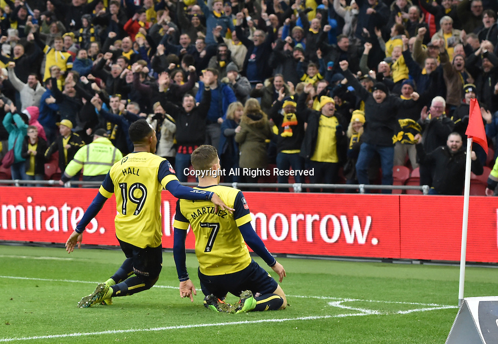 February 18th 2017,  Middlesbrough, Teesside, England; 5th Round FA Cup football, Middlesbrough versus Oxford United; Antonio Martinez of Oxford United celebrates scoring his goal for 2-2