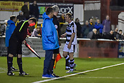 Forest Green Rovers Defender, Mark Ellis (5) leaves the field after being shown the red card during the Vanarama National League match between Sutton United and Forest Green Rovers at Gander Green Lane, Sutton, United Kingdom on 14 March 2017. Photo by Adam Rivers.