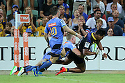 Hurricanes Julian Savea scores a try during the Western Force and Hurricanes game, Super Rugby, NIB Stadium, PERTH, Western Australia. Friday, 27th February, 2015. Photo: Travis Hayto / photosport.co.nz
