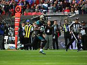Jacksonville Jaguars T.J. Yeldon running free to score a touchdown during the Buffalo Bills v Jacksonville Jaguars NFL International Series match at Wembley Stadium, London, England on 25 October 2015. Photo by Matthew Redman.