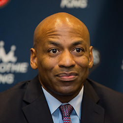New Orleans Pelicans general manager Dell Demps speaks to the media during a press conference announcing free agent guard Jrue Holiday has signed a new five year contract to remain with the New Orleans Pelicans at the New Orleans Pelicans practice facility in Metairie, La. Thursday, July 6, 2017.