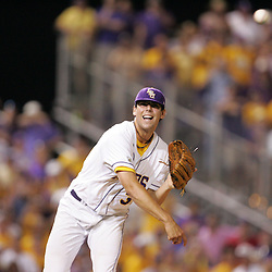 09 June 2008:  Pitcher Anthony Ranaudo #30 throws to first base for the final out against UC Irvine. The LSU Tigers advanced to the College World Series with a 21-7 victory over the UC Irvine Anteaters in game three of the NCAA Baseball Baton Rouge Super Regional Alex Box Stadium in Baton Rouge, LA..