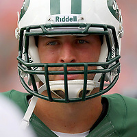 Jets quarterback  Tim Tebow (15) is seen during an NFL football game between the New York Jets and the Miami Dolphins on Sunday, September 23, 2012 at SunLife Stadium in Miami, Florida. (AP Photo/Alex Menendez)